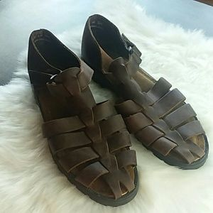Bass Brown Leather Loafer Sandals